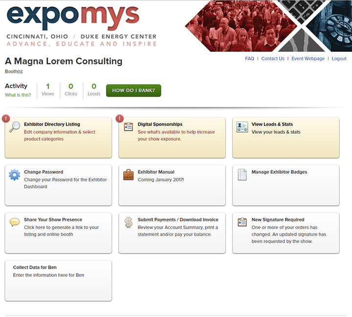 expomys exhibitor dashboard
