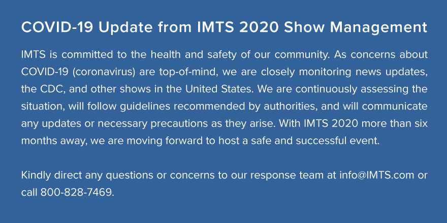 COVID-19 Update from IMTS 2020 Show Management